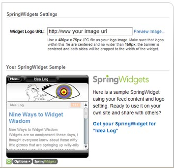 screen shot of springwidget